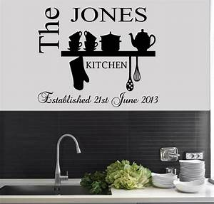 personalised family est name kitchen wall art sticker With kitchen cabinets lowes with wall art stencils quotes