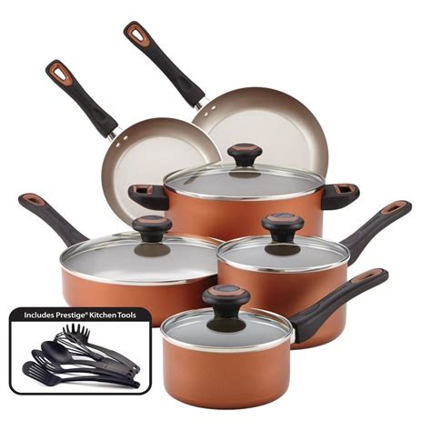 farberware cookware high performance nonstick piece set  copper kitchen pan  great deals