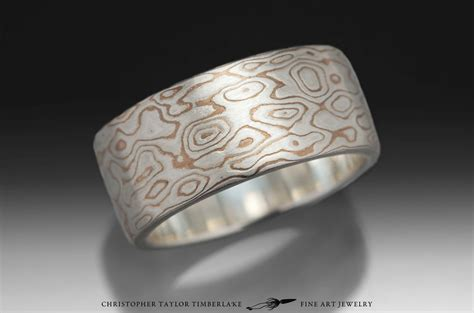 mokume gane sterling silver  shakudo etched burlwood
