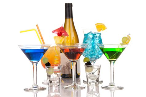 Most Popular Alcoholic Cocktails Drink Composition Stock