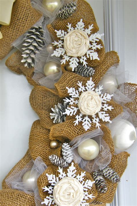 elegant burlap  snowflake wreath fynes designs