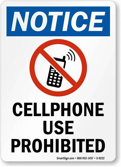 Cell Sign Phones Phone Notice Prohibited Signs