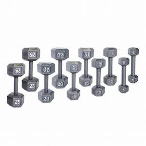 Cap 150 Lb  Solid Gray Hex Exercise Dumbbell Set With Rack