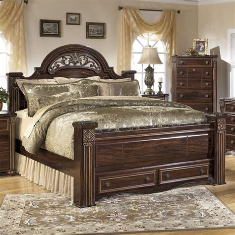 ashley gabriela wood queen panel drawer bed  brown