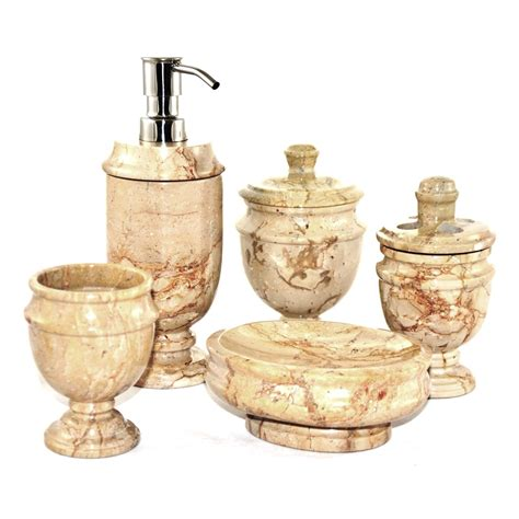 rustic sahara beige marble  piece bathroom accessory set tuscan italian decor