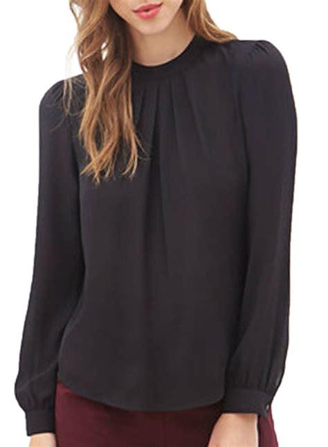 sleeve blouses for ruffled front lantern sleeve chiffon blouse oasap com