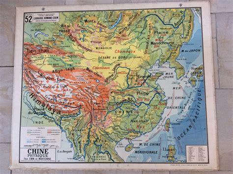 carte murale scolaire ancienne carte scolaire ancienne 52 vidal lablache chine politique et physique d 201 co industrielle vintage