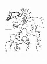 Coloring Horse Jumping Racing Colouring Coloriages Horses Popular Race sketch template