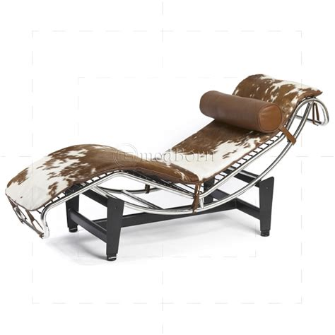chaises deco le corbusier style lc4 chaise longue pony leather