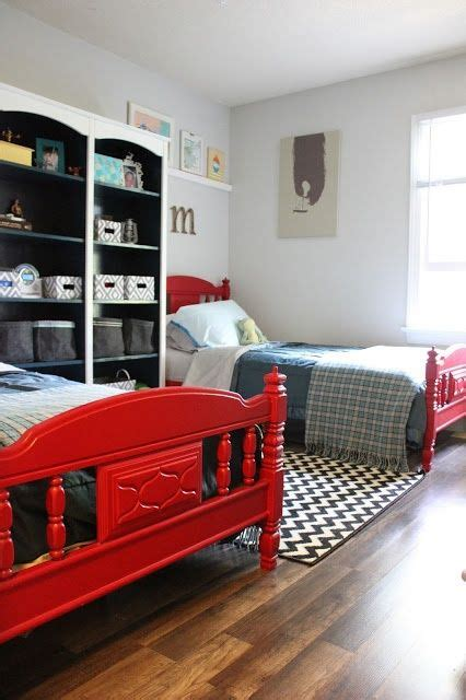 boys room  red twin beds big white  teal double