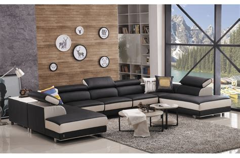 canap 233 d angle en cuir buffle italien de luxe 8 9 places noir et blanc mobilier priv 233