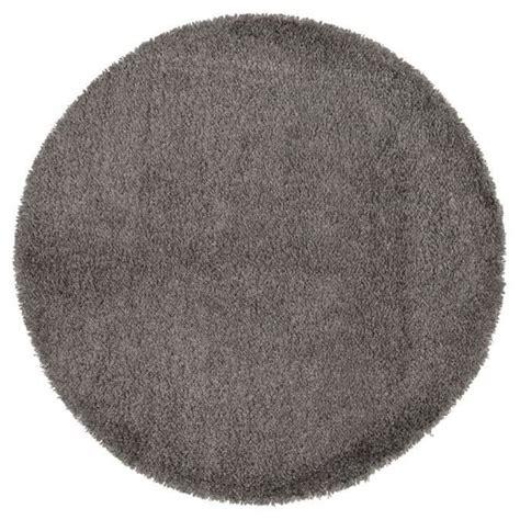 dom tapis shaggy rond poils longs gris 216 200cm achat