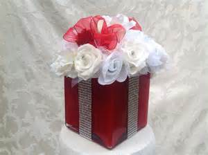 silk floral bling gift box centerpiece for wedding bridal