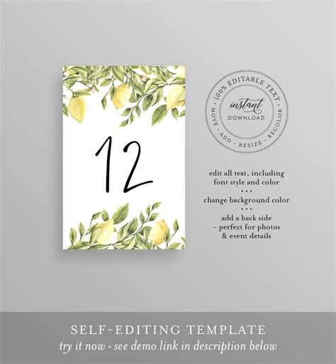 Lemon Table Number Card Template Printable Table Number