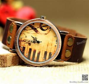 Women Wristwatches Leather Piano Watches Music Patter