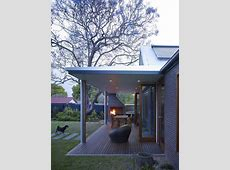 modern outdoor fireplace Patio Contemporary with bench