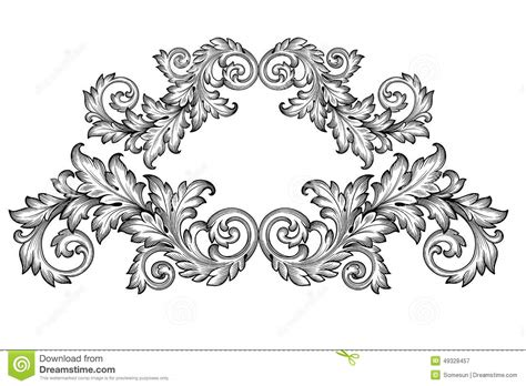 vintage baroque frame scroll ornament vector stock vector