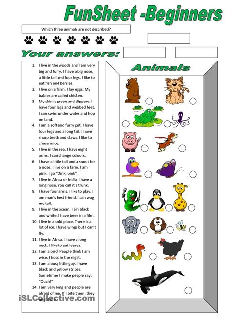 funsheet for beginners animals free esl worksheets m