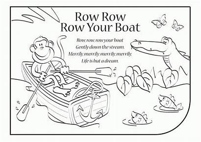 Row Boat Coloring Lyrics Clipart Colouring Pages