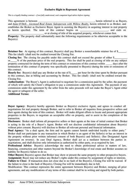 exclusive   represent agreement form printable