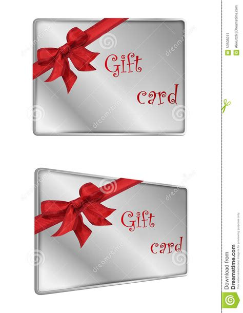 stock image shopping silver  ribbon gift card image