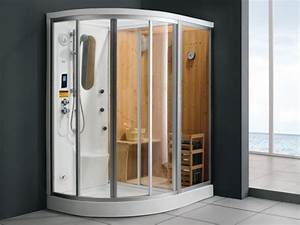 douche d39angle balneo hammam sauna haumea l157xp110xh215cm With sauna exterieur avec douche