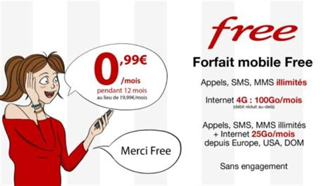 Free Mobile by Vente Priv 233 E Free Mobile Forfait 100 Go 224 0 99 Mois