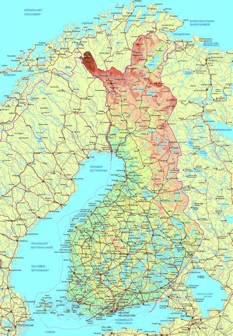 detailed road  physical map  finland finland