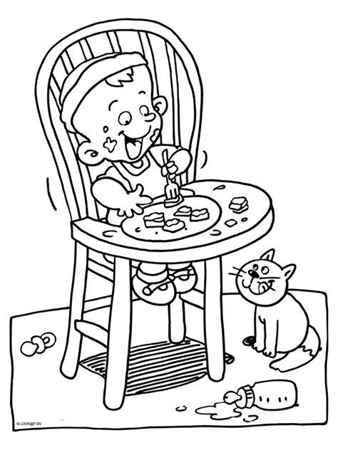 Kleurplaten Eten En Drinken Peuters by Kleurplaat Eten En Drinken In Een Kinderstoel Kleurplaten Nl