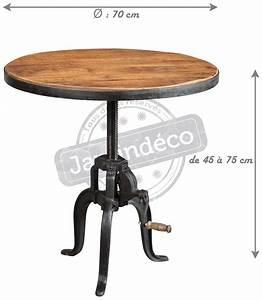 Table Fer Forgé Ronde : table ronde fer forg et bois avec manivelle ~ Teatrodelosmanantiales.com Idées de Décoration