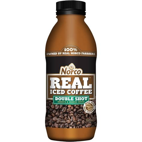 If you ask for a single, the barista that means that a double shot will likely have anywhere between 60 and 100mg. Norco Double Shot Real Iced Coffee 750ml | Woolworths