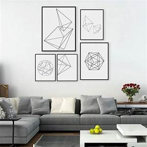 Modern nordic minimalist black white geometric shape a