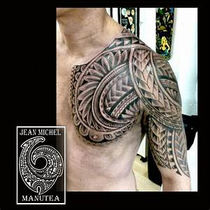 tatouage polynesien-polynesian tattoo: chest tribal polynesian