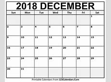 Printable December 2018 Calendar Templates 123CalendarsCom