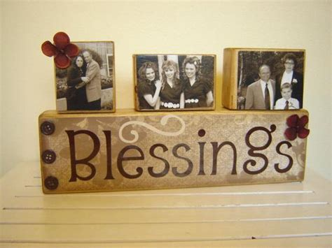 Blessings Home Decor: Wood Sign Decor Family Blessings With Photo Blocks By