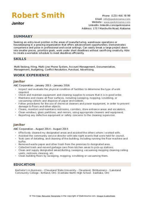 Janitor Responsibilities Resume by Janitor Resume Sles Qwikresume