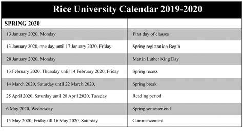 rice university academic calendar school calendar