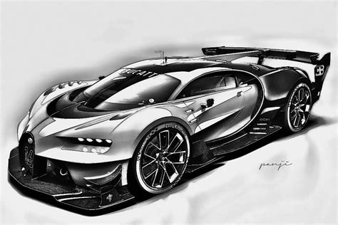 drawn optical illusion bugatti pencil and in color drawn