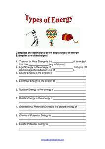 types  energy worksheet    grade lesson planet