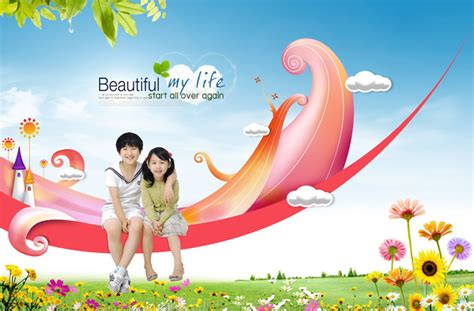 children  fairy tale style psd material