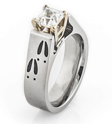 women s cobalt chrome deer track engagement ring with 14k white gold fingers track and deer