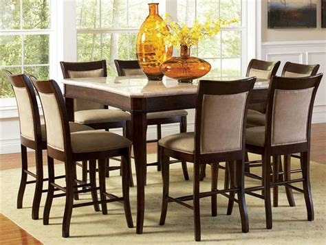 9 dining room set contemporary marble top 54 quot counter height 9 dining