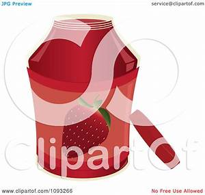 Clipart Open Jar Of Strawberry Jam - Royalty Free Vector ...