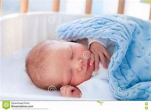 Newborn Baby Boy In Hospital Cot Stock Photo - Image: 72155504