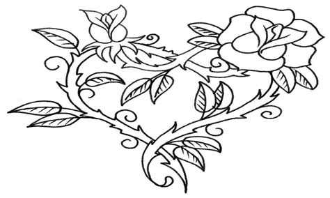 Hearts And Roses Coloring Pages Rose All Grig3org