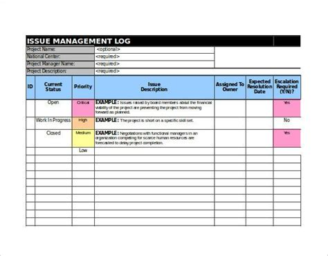 issue tracking templates  sample  format