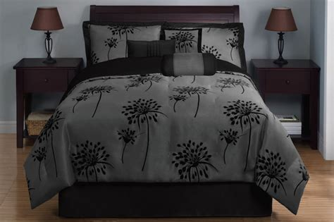 7 Piece King Dandelion Black And Gray Comforter Set