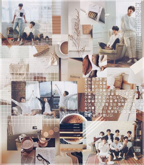 brown and white aesthetic aesthetics bts collage bts