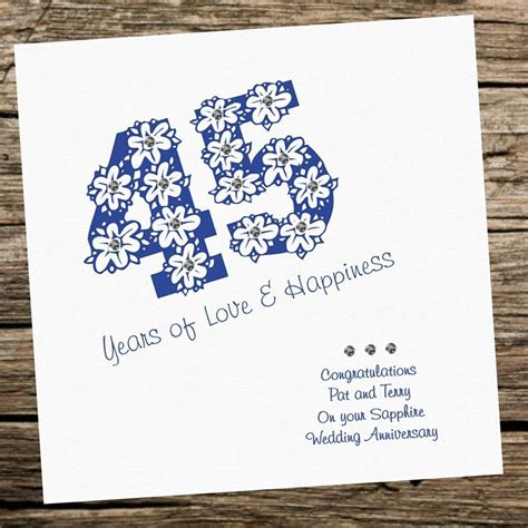 handmade card wedding anniversary  sapphire