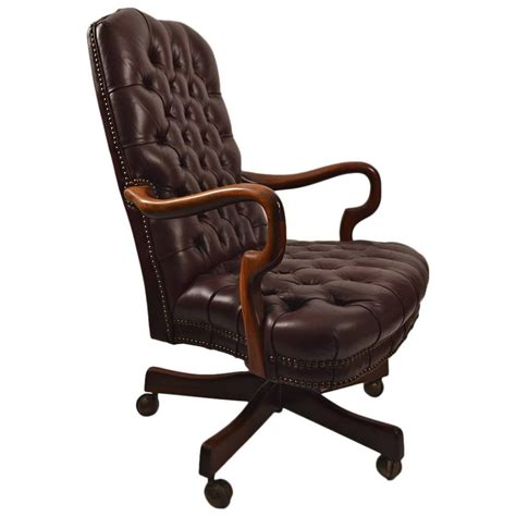 leather swivel desk chair swivel tilt tufted leather chair at 1stdibs